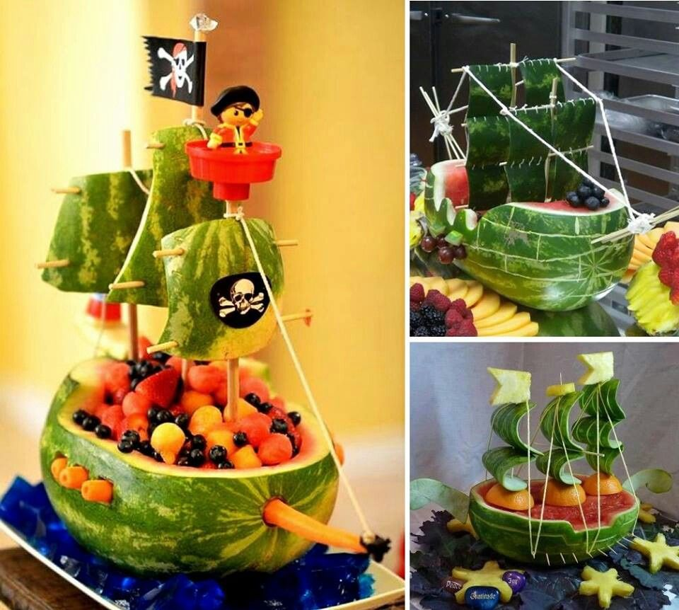 sandia pirata barco infantil niños fruta fiesta funny watermelon