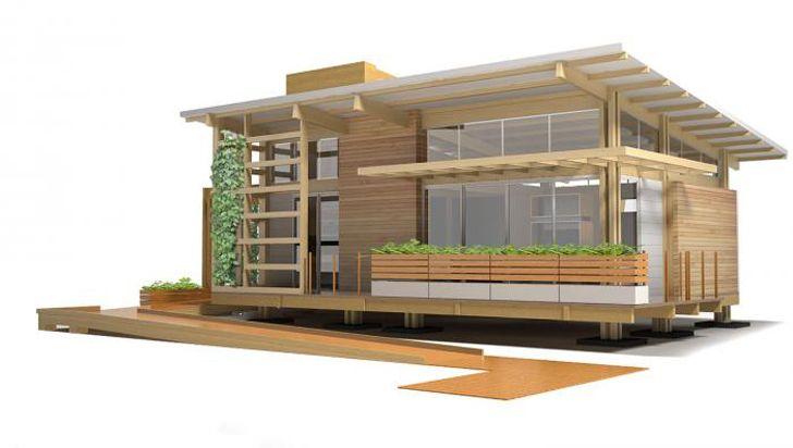 Casa pequeña de madera autosustentable, diseño de interiores y