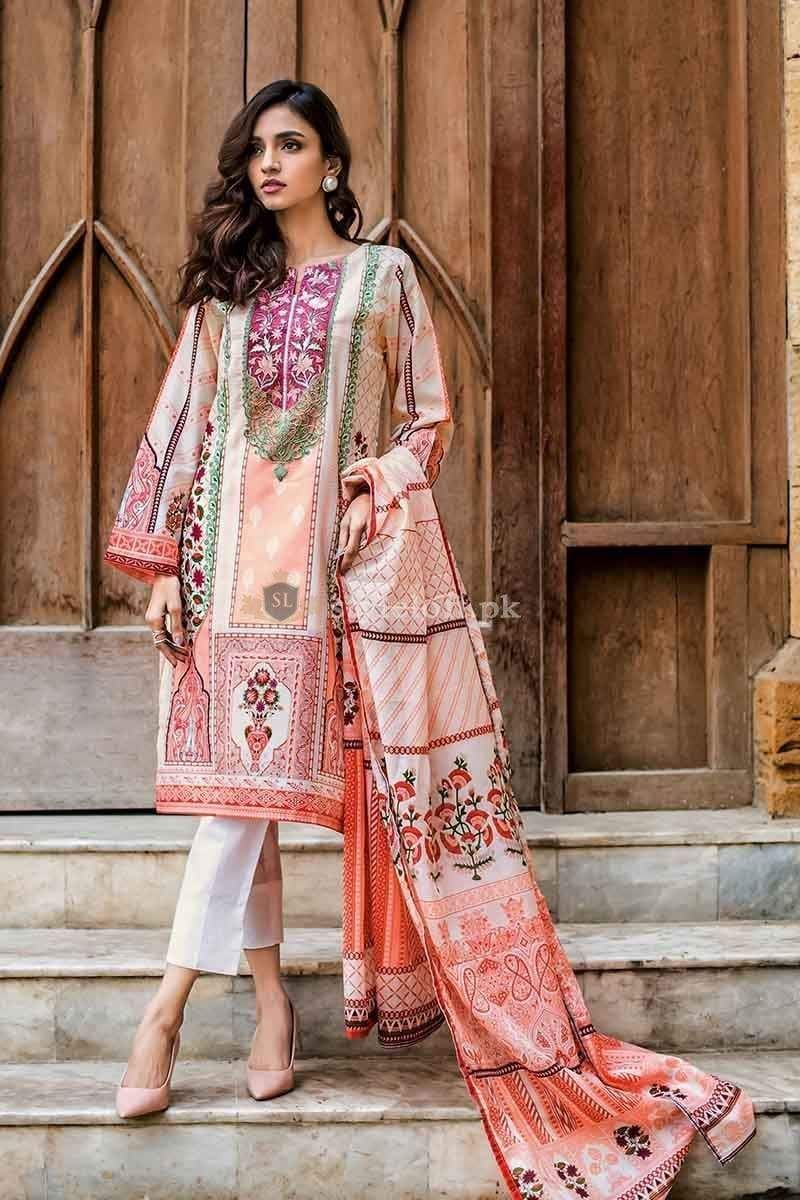 Gul Ahmed-Original Unstitched Embroidered 3 Piece Lawn Suit-Pakistani Wear