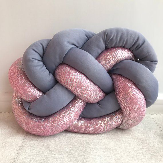 Knot pillow, gray and neon bright cloud