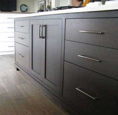 Oak Slate Stained Kitchen Cabinets With Flat Doors