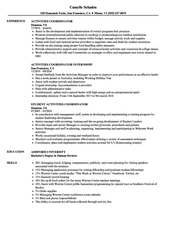 Resume Examples Activities ResumeExamples