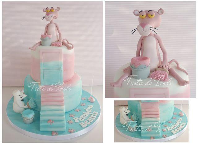 Pink Panther From Cake Designer Silvia Ferreira Pantera Cor De