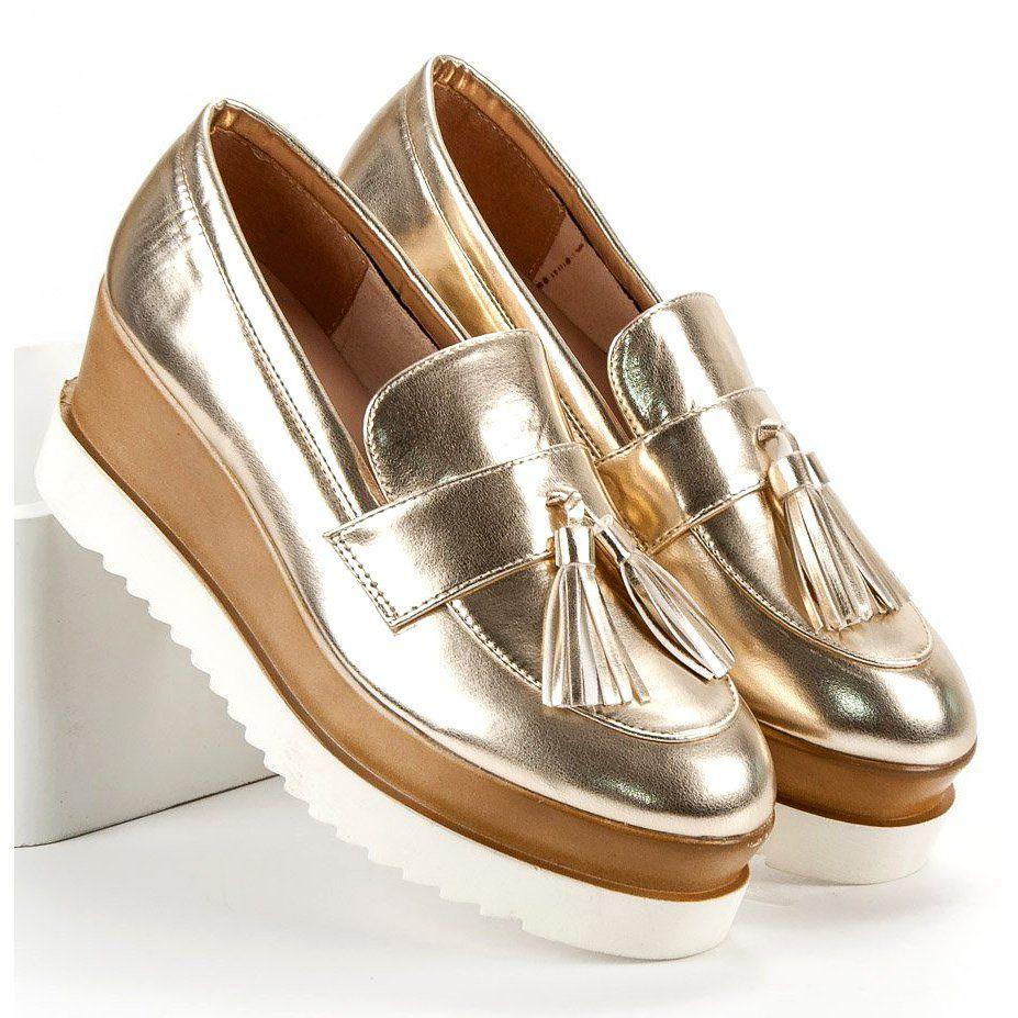 Corina Zlote Mokasyny Na Koturnie Zloty Loafers Shoes Fashion