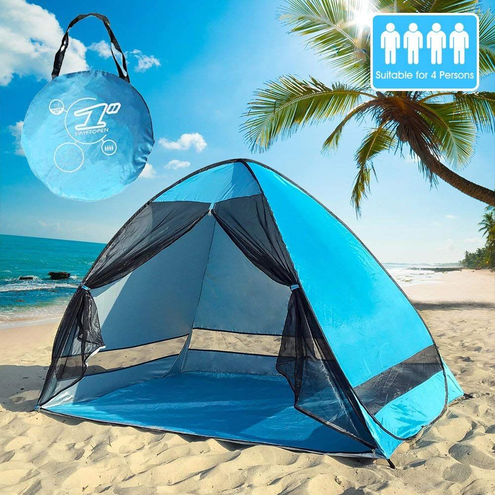 4 People Pop Up Beach Tent Portable Sun Shelter Uv Protection Shade Cabana For Outdoor Activities And Beach Traveling Pop Up Beach Tent Beach Tent Beach Shade