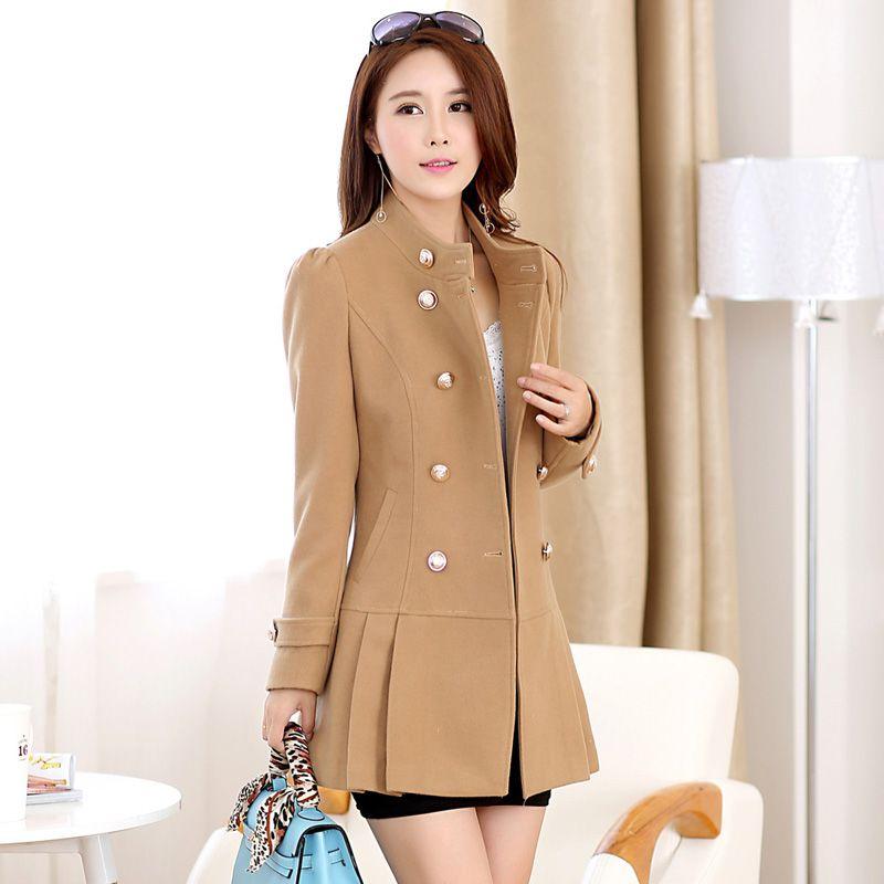 a8b257f71 Barato Casaco de inverno mulheres novo 2015 outono moda casual Double  Breasted misturas de lã Plus size gola mandarim casaco feminino, ...