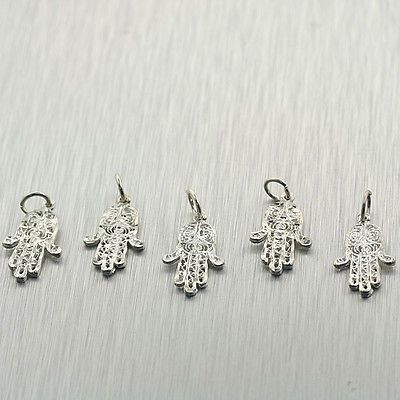 Traditional 64506: Hamsa Amulet Charm Sterling Silver Pendant 5 Pcs Lot BUY IT NOW ONLY: $40.0