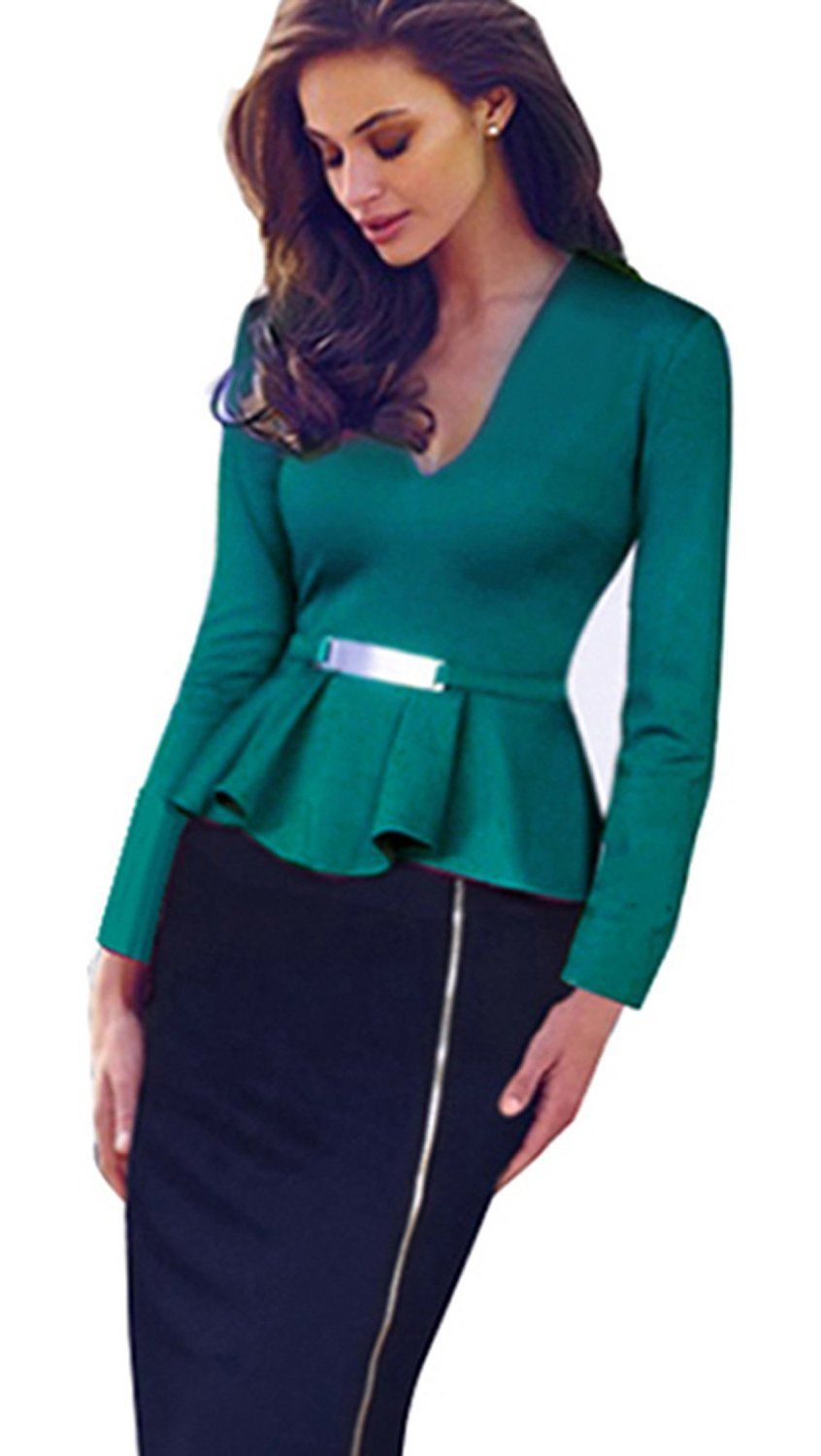 Merope J Women's Deep-V Neck Busniess Peplum Fitted Casual Bodycon Dress *** Click image to review more details.