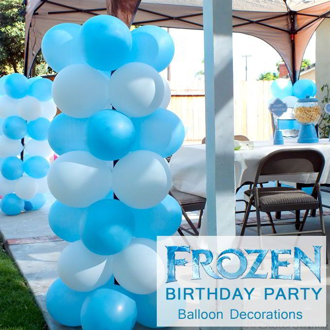 Disney frozen balloon decorations white balloons themed for Frozen balloon ideas