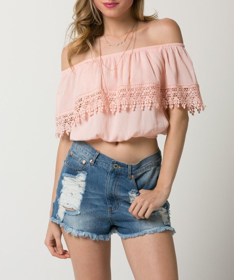 Crinkle Off Shoulder Crop Top with Lace