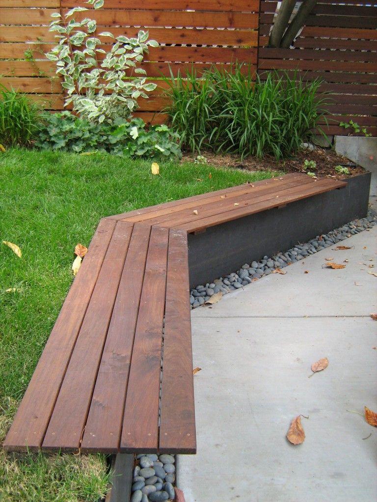Ipe u corten steel bench lazar landscape outdoor living
