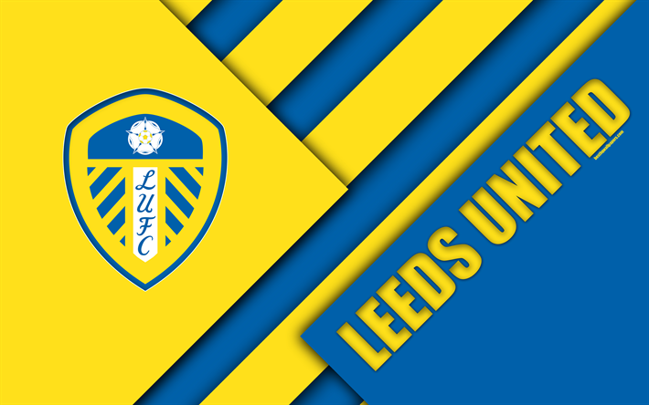 Download Wallpapers Leeds United FC, Logo, 4k, Blue Yellow