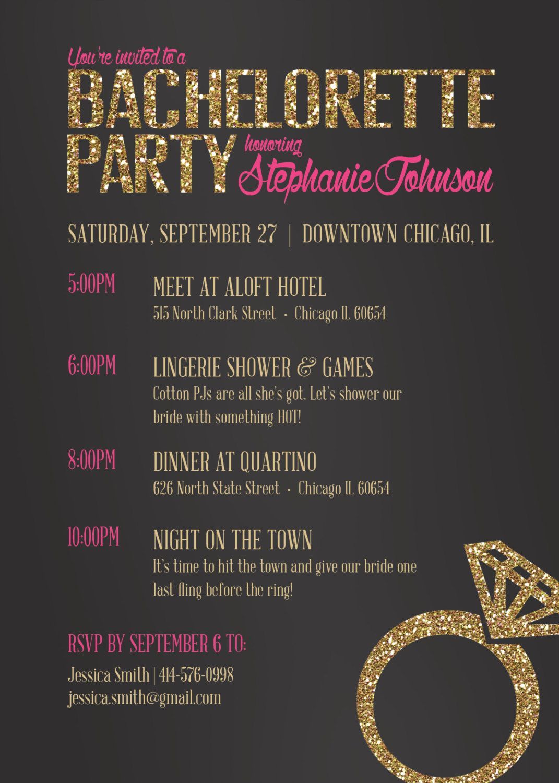 bachelorette invitation  bachelorette party invite  drink
