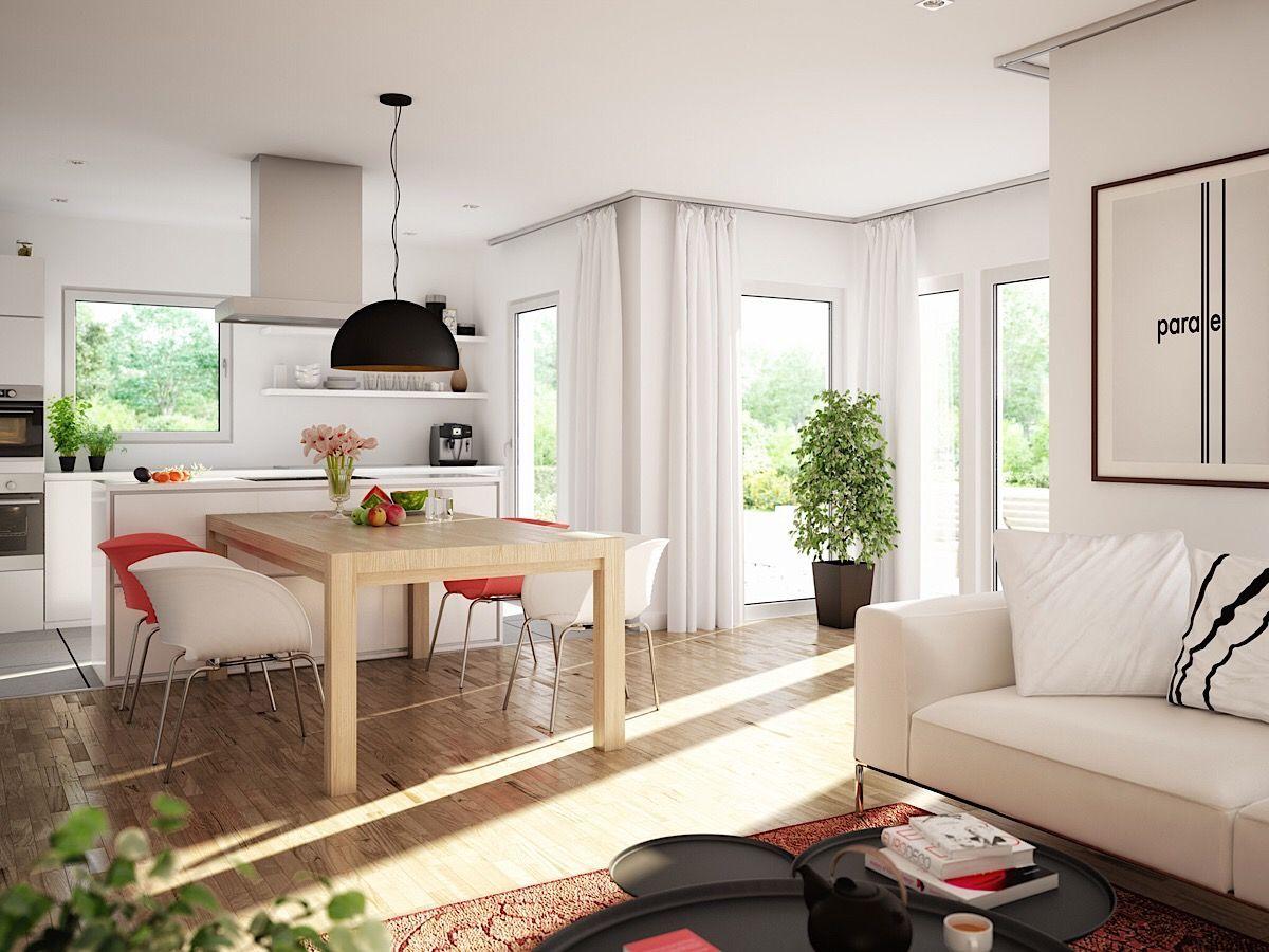 Offenes Wohn-Esszimmer mit Küche & Wintergarten Erker - Ideen