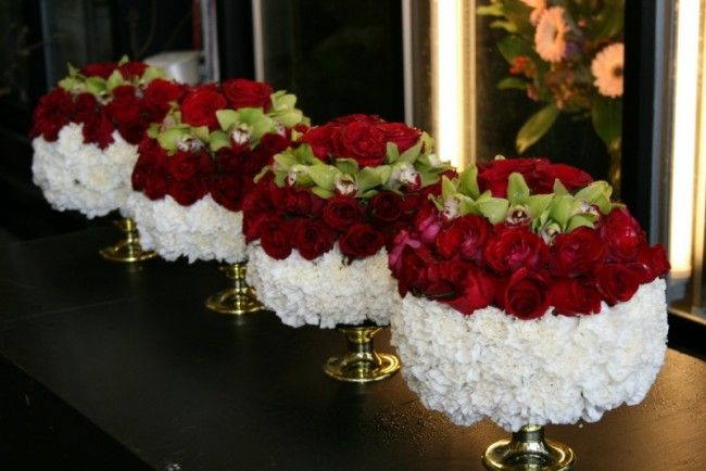 red centerpiece | Unique Red, White & Green Centerpieces ...