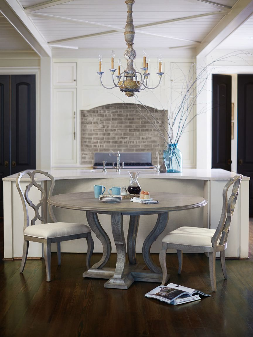 Bernhardt Marquesa Round Dining Table In Quartered Oak With A