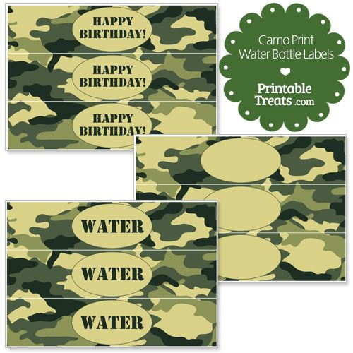 Free Printable Camouflage Water Bottle Labels from PrintableTreats