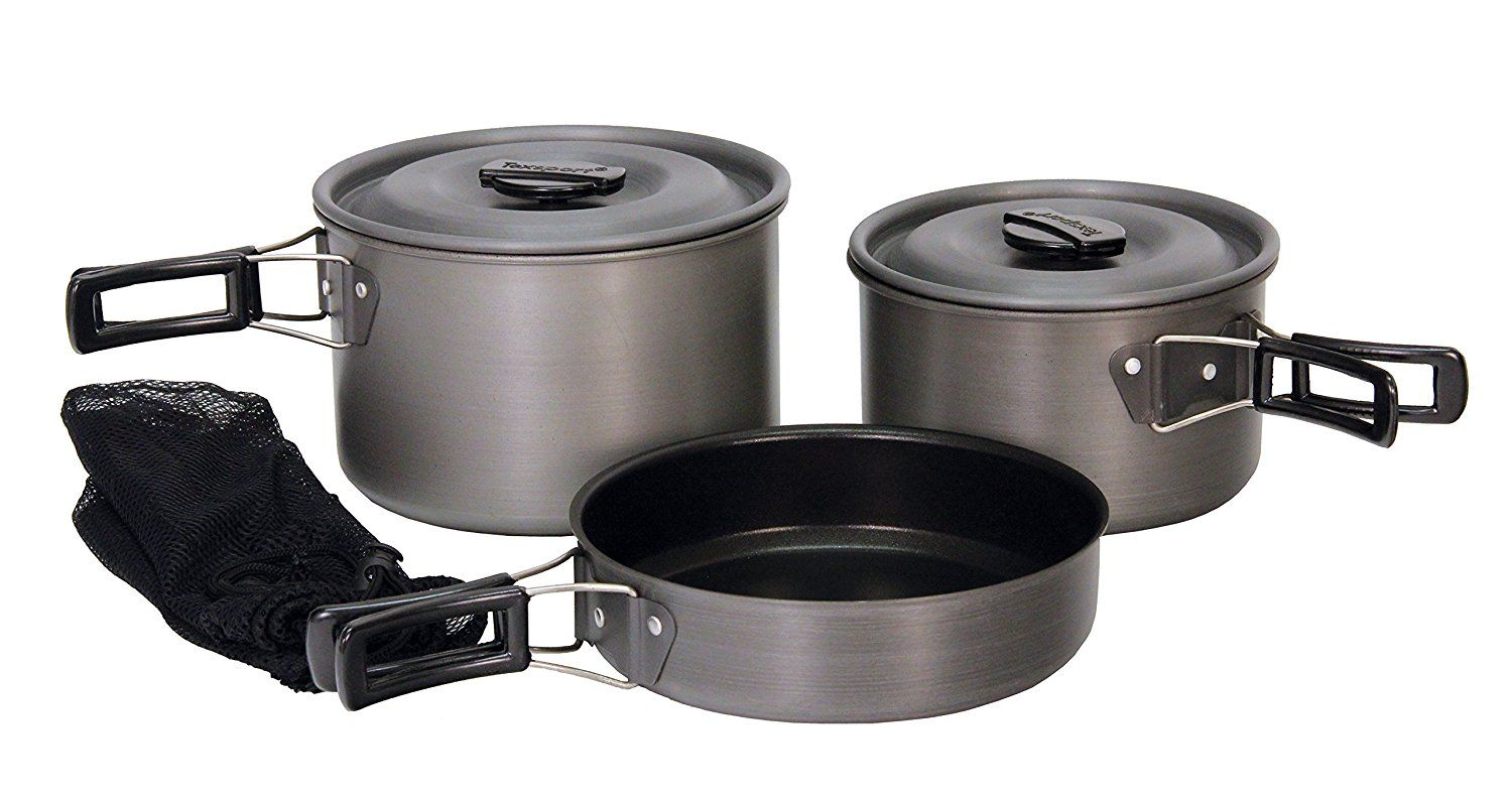 Texsport Black Ice The Scouter 5 Pc Hard Anodized Camping Cookware Outdoor Cook Set With Storage Bag This Is An Affiliate Link