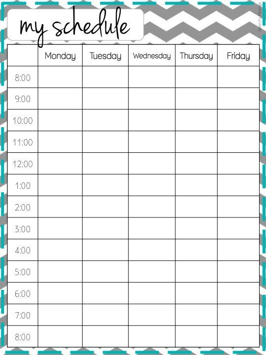 Daycare Weekly Schedule Template - 5 day Daycare Daily Schedule - timetable template