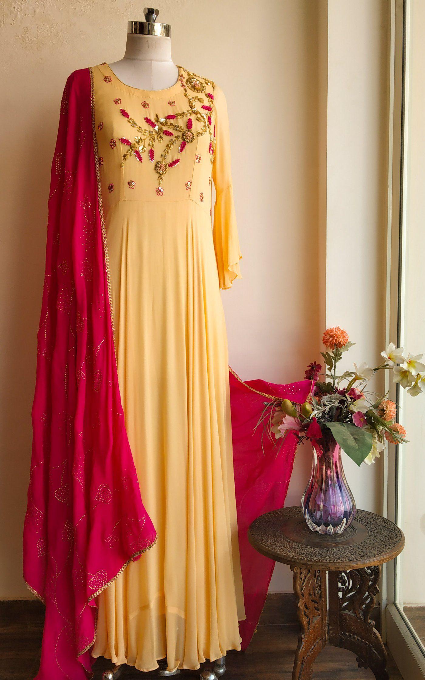 Cream zardozi gown with mukaish dupatta designs pinterest