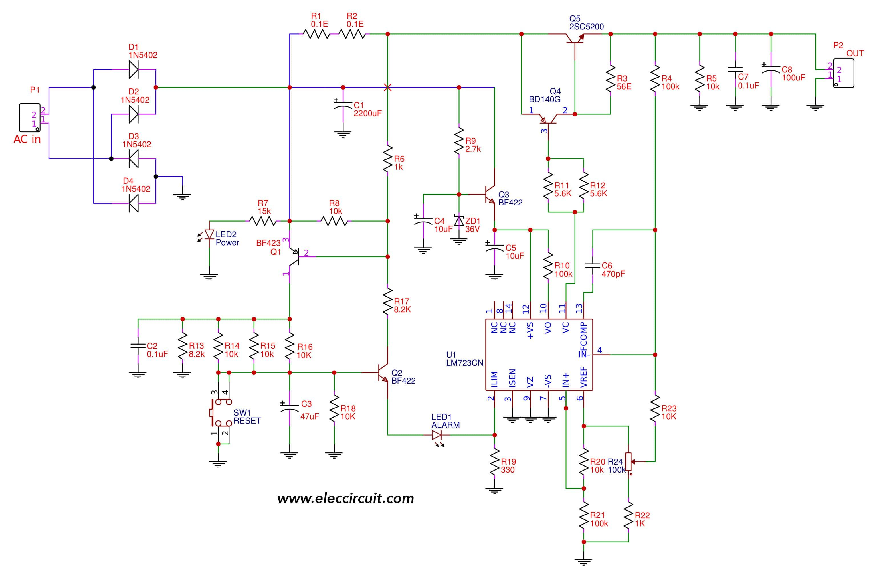 Variable power supply circuit, 050v at 3A with PCB