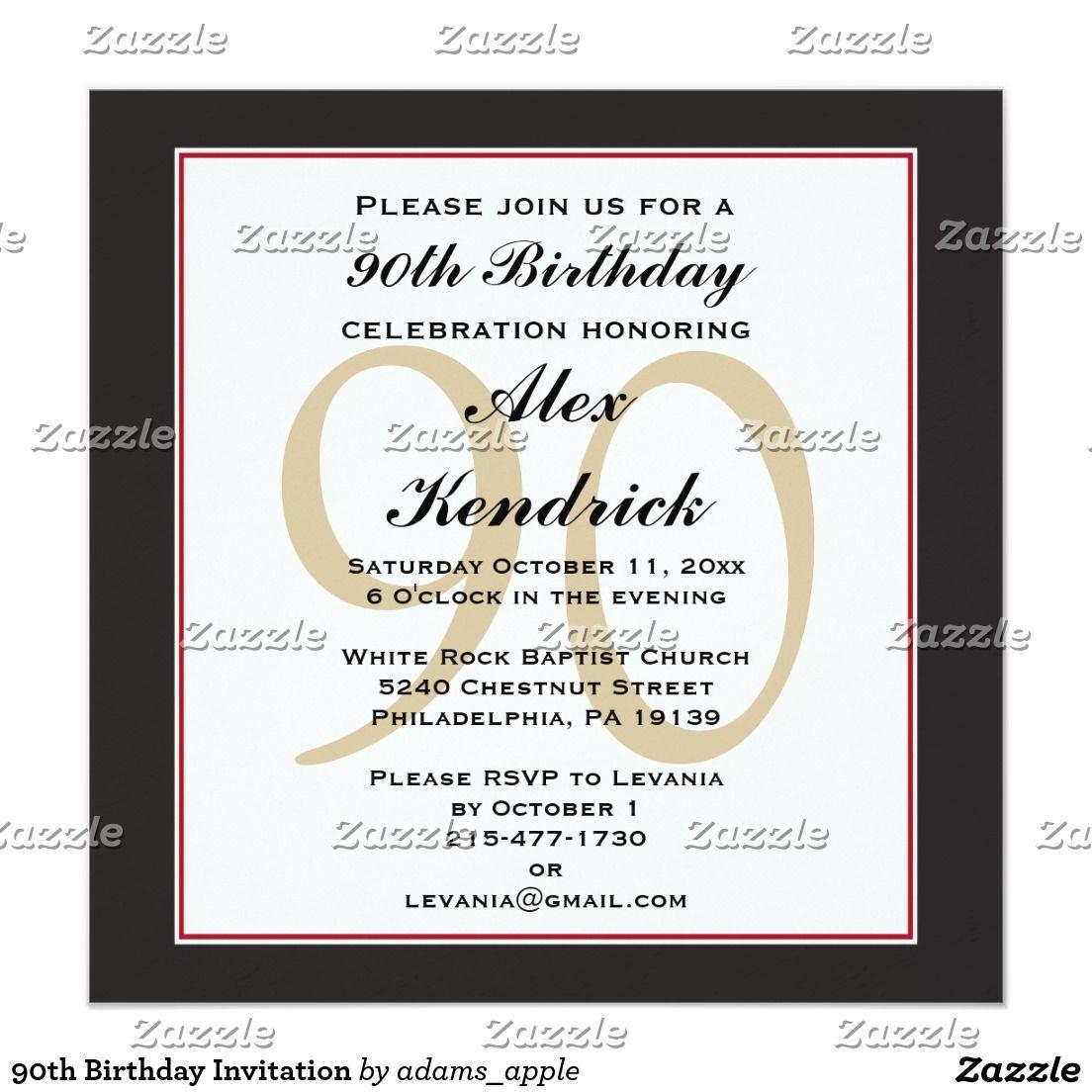 90th birthday invitation pinterest 90th birthday invitations 90 90th birthday invitation filmwisefo