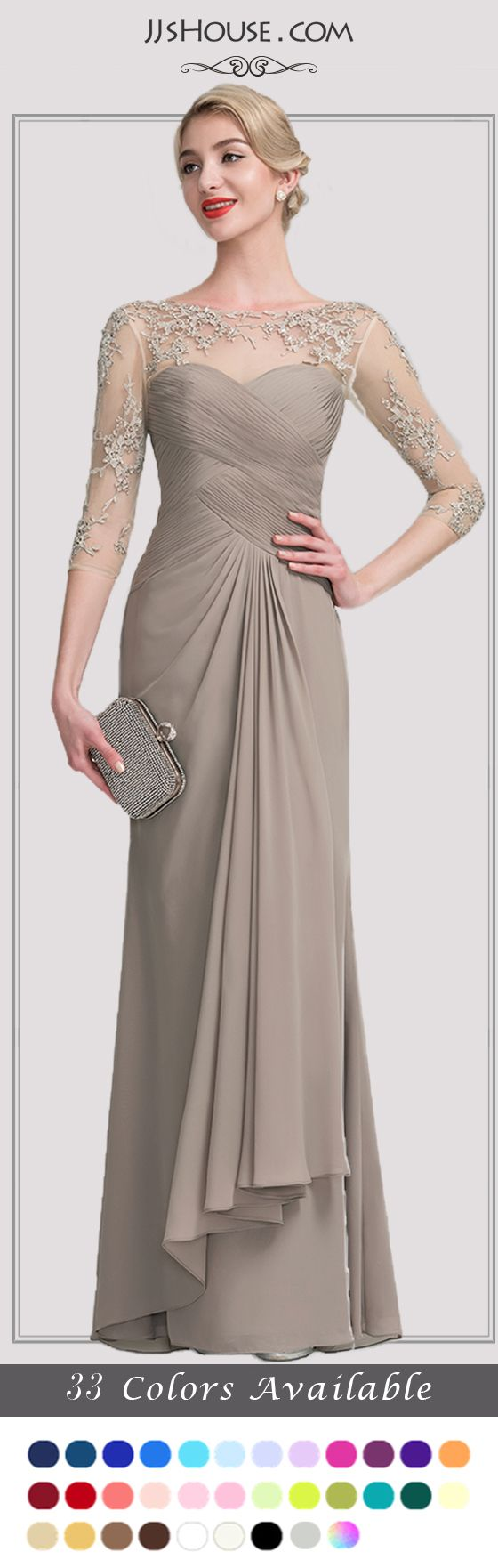New mother of the bride dresses added long or short sleeve or