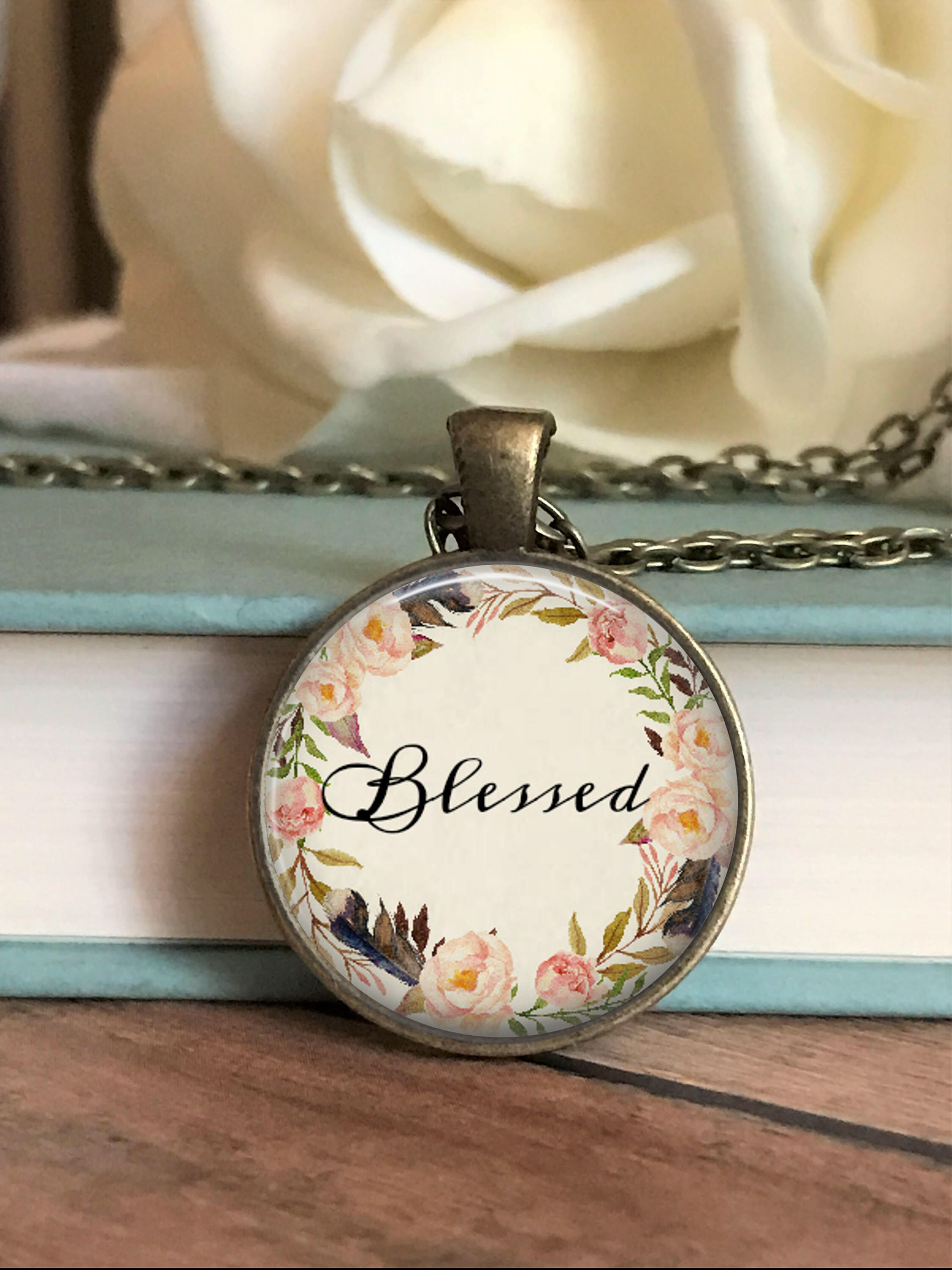 Blessed necklace christian necklace scripture necklace