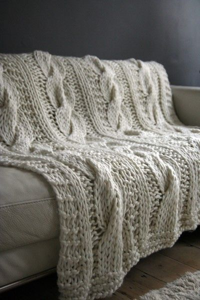 Timeless Taupe / Seriously Chunky 100 Wool Hand Knitted Throw Blanket Patte...