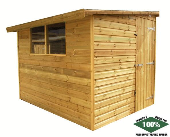Reverse Pent Sheds from Skinners-sheds.com 100% Pressure Treated | Free Delivery | Free Erection