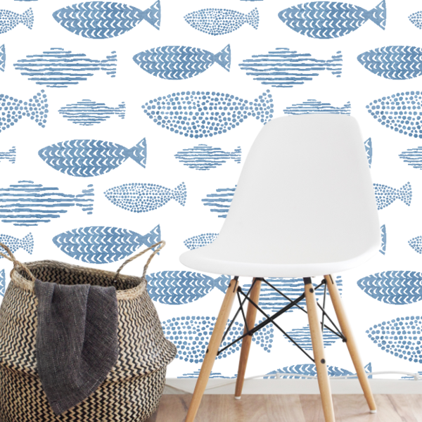 Watercolor Fish Wallpaper (SelfAdhesive) Blue, white