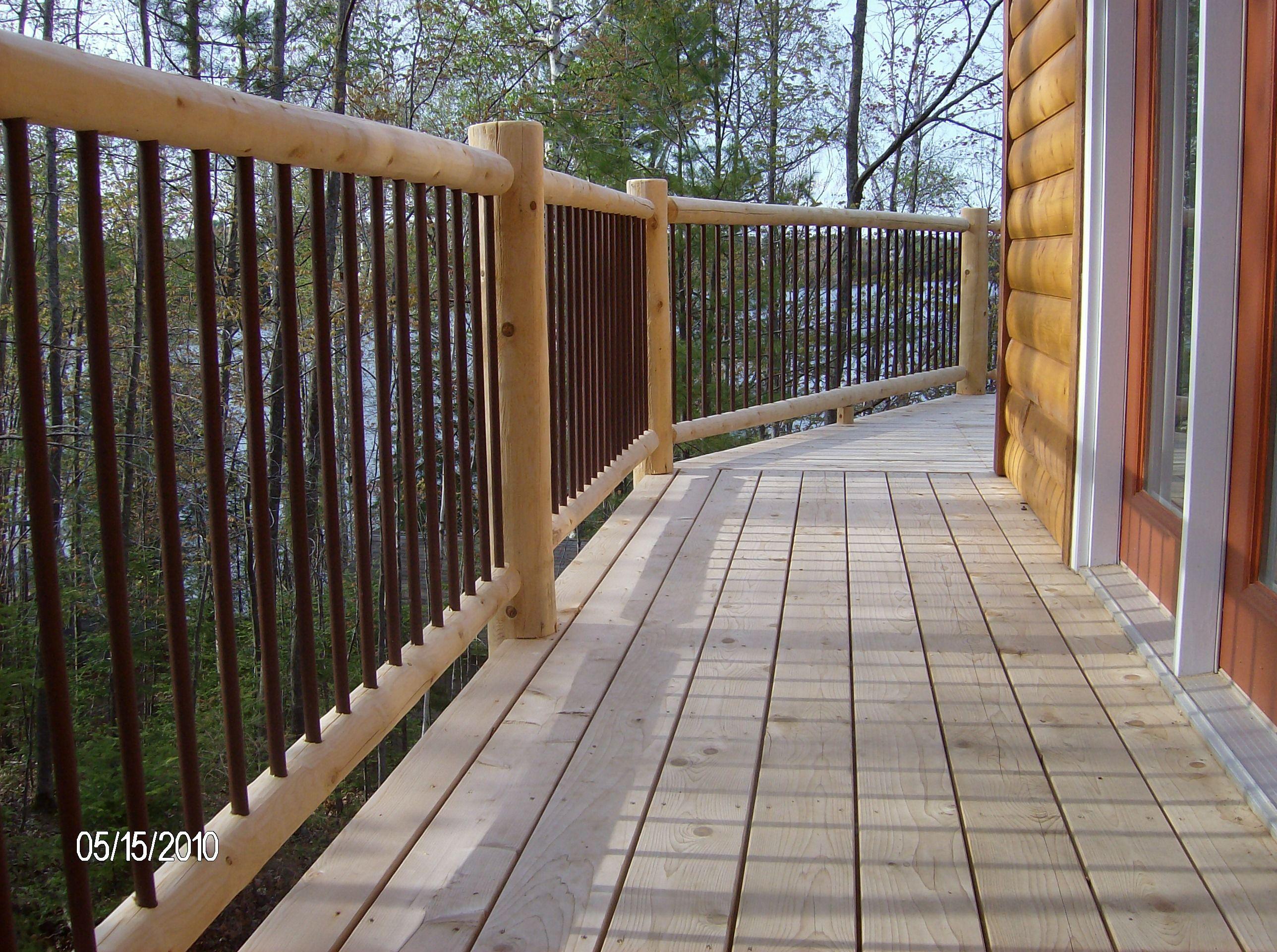 Best Log Deck Railing Cedar Msulzer New Rr Com House Deck 640 x 480