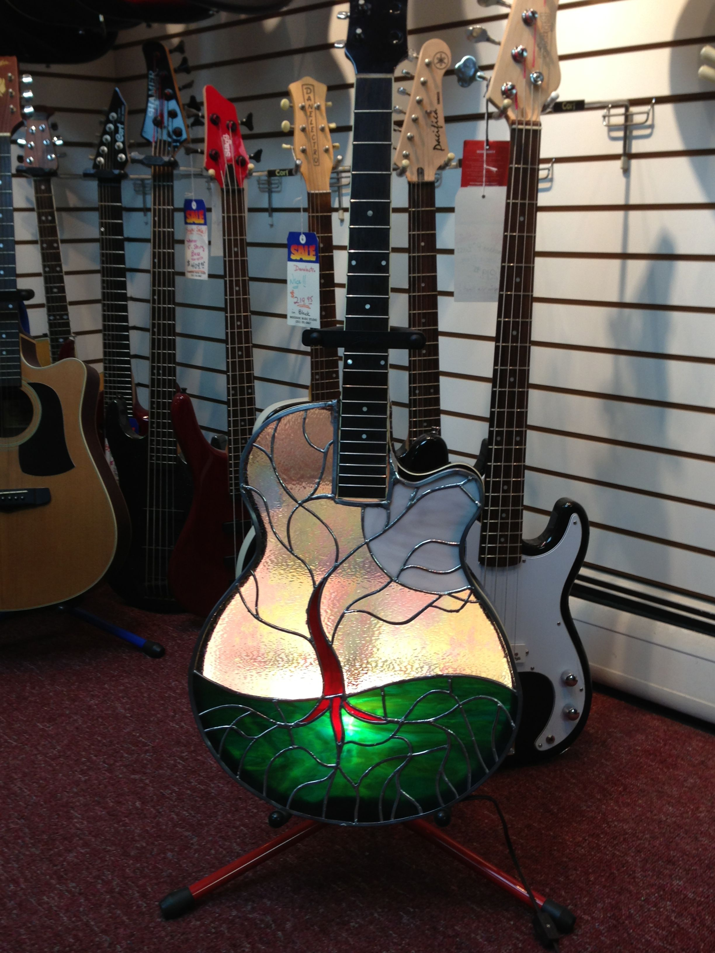 guitar light stained glass mosaic Pinterest