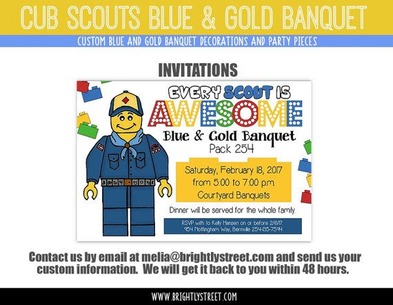 """Cub Scouts Blue and Gold Banquet CUSTOM Invitation Lego Party Theme """"Every Scout is Awesome"""""""