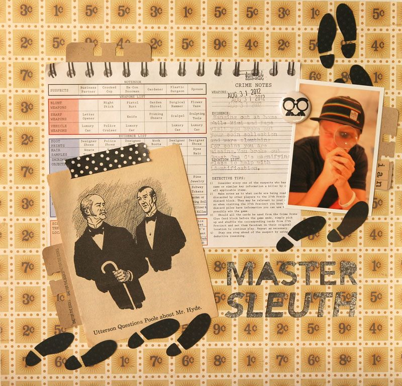 Master Sleuth 12×12 Layout by Suz Mannecke: A Trim in Time Project Idea using the February 2013 A Trim in Time scrapbook kit from monthly kit club, Little Black Dress Kit Club