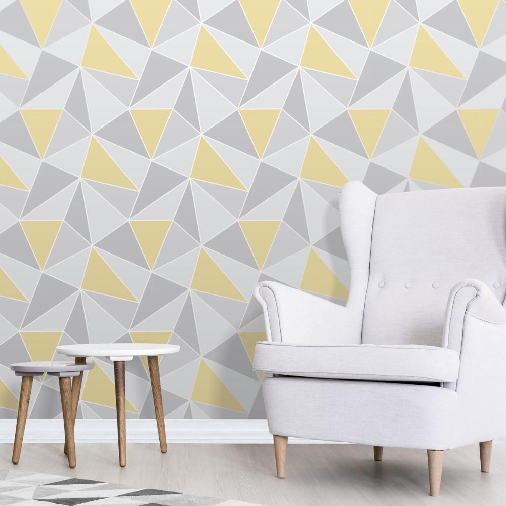 Apex Geometric Wallpaper Yellow and Grey Fine Decor