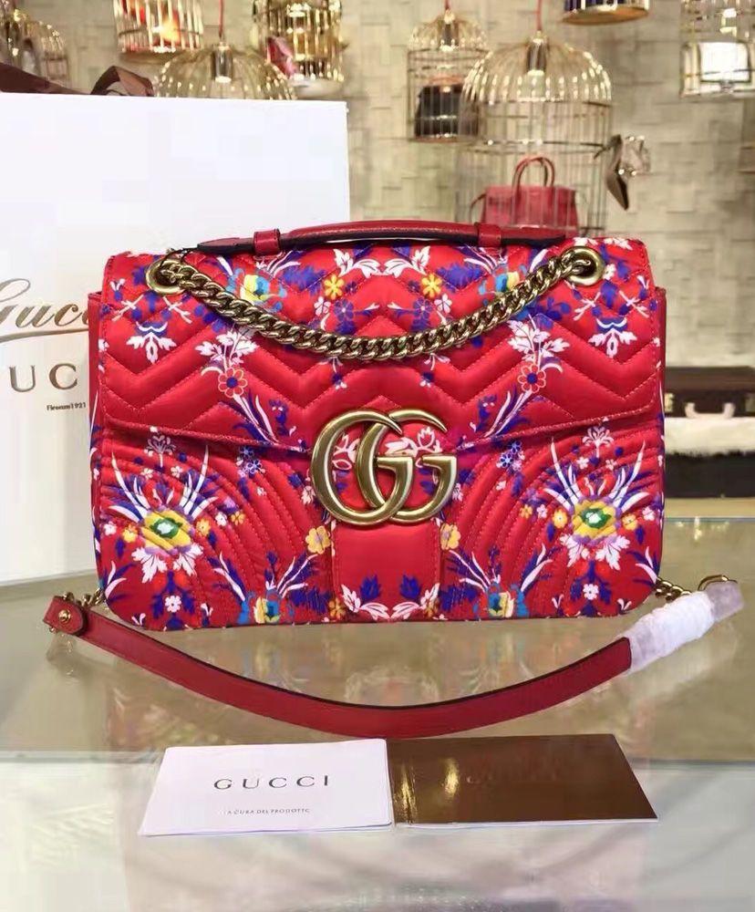 3f32a06df511 Gucci GG Marmont floral jacquard shoulder bag 443493. Antique gold toned  hardware