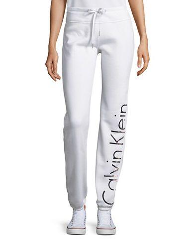 Calvin Klein Performance Logo Drawstring Sweatpants Women s White X ... f2130efcaf