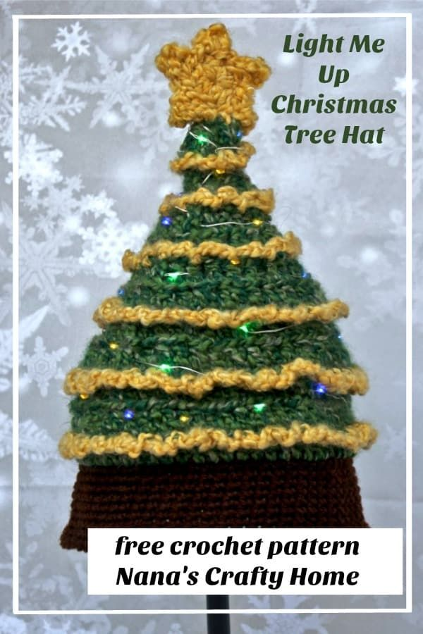 Looking for a Christmas Tree Hat Pattern to light up your holidays this year?  The Light Me Up Christmas Tree Hat would be just the thing!  Works up quickly in bulky yarn this whimsical, quirky and fun hat is lighted with inexpensive fairy lights so you can be the talk of the Christmas party!  #nanascraftyhome #christmastreehat #christmashat #treehat #christmasgift #christmaspartyidea