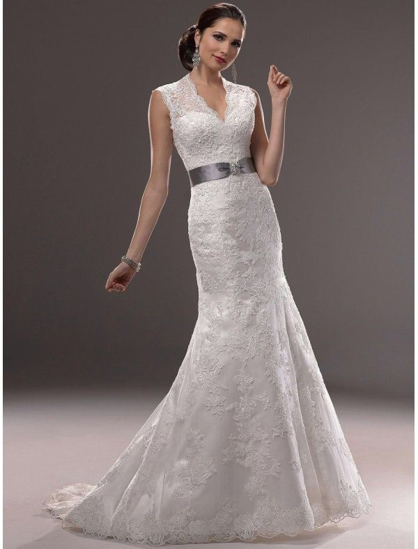 Trending Lace V Neck Wedding Dress with Cap Sleeves MS