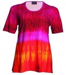 Chalou Damen Kurzarm T-Shirt Pink Bunt Sommer-Mode große Größen elegant