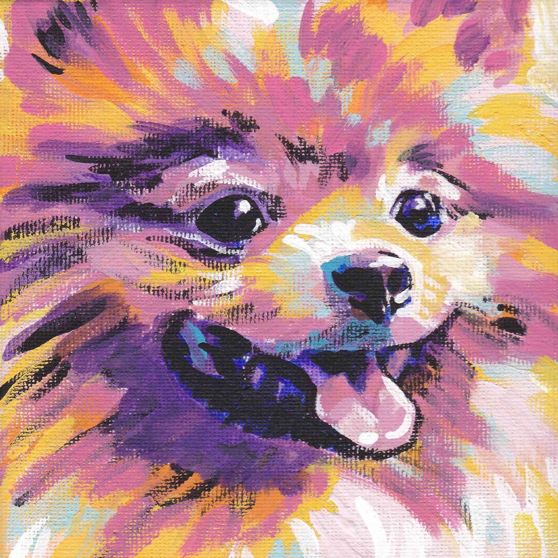 Pomeranian Art Print Pop Dog Art Bright Colors 12x12 Lea Dog Pop Art Dog Print Art Dog Art