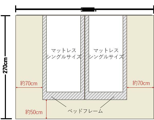 ベッドのサイズと 4畳半 6畳 8畳 寝室の大きさ別レイアウト例 4