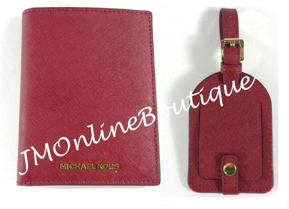 297955aa9e23 Michael Kors 34H6GGFT2L Red Saffiano Leather Passport   Luggage Tag Box Set  NEW!  MichaelKors