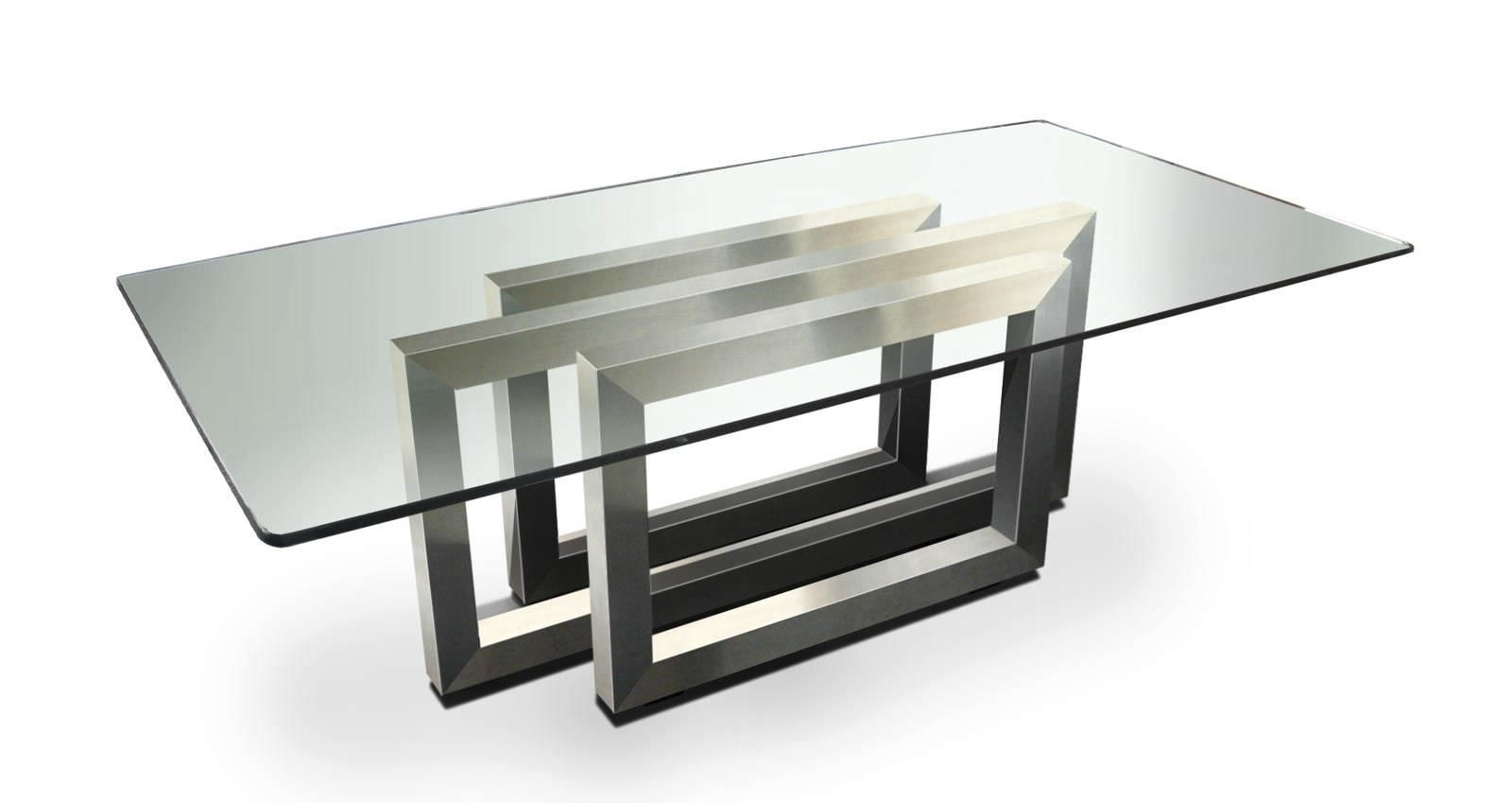 Mesa rectangular de interior moderna de cristal for Cristal para mesa rectangular