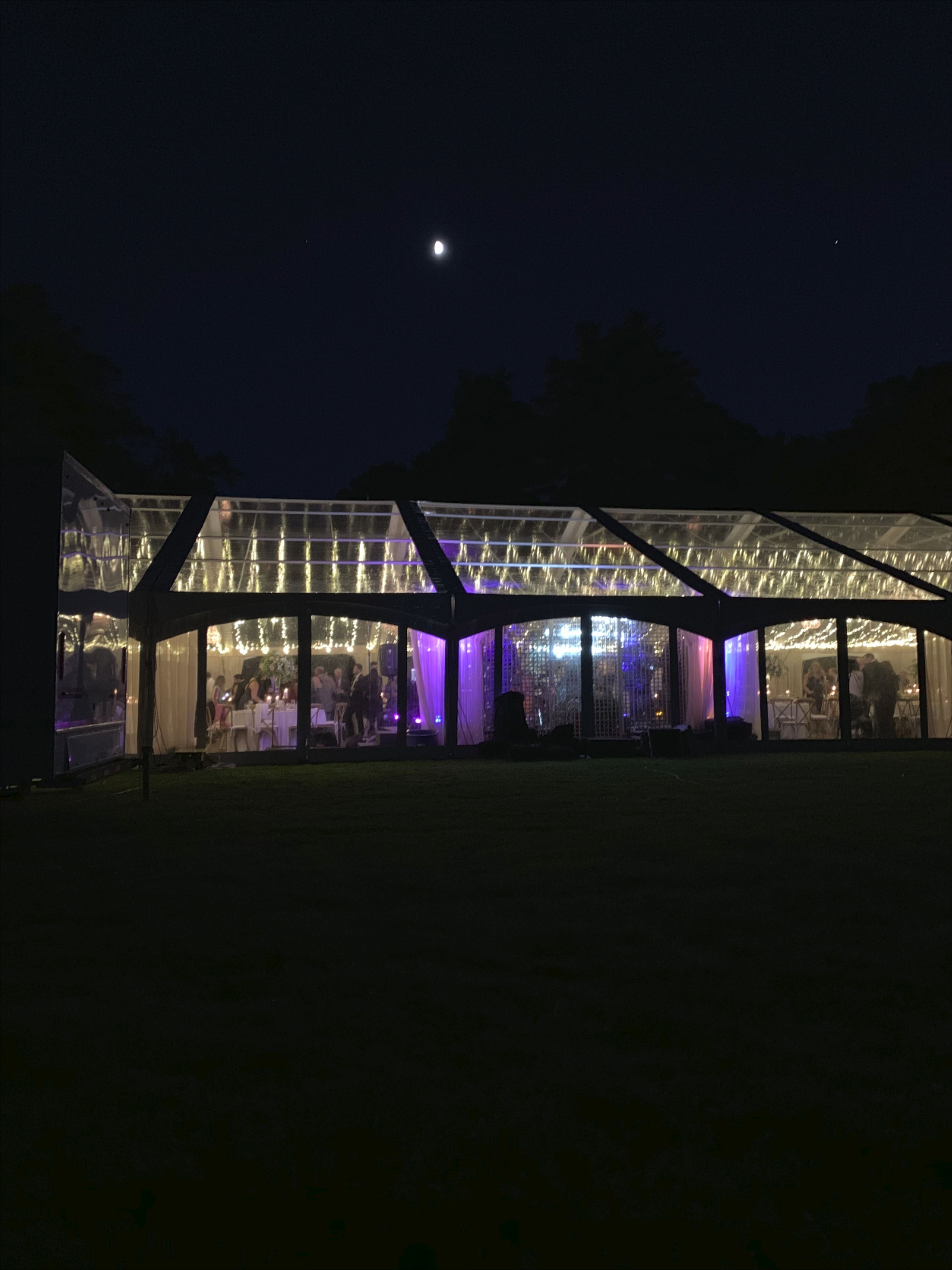 Clear tent with twinkle lights. Canopy rentals, Event