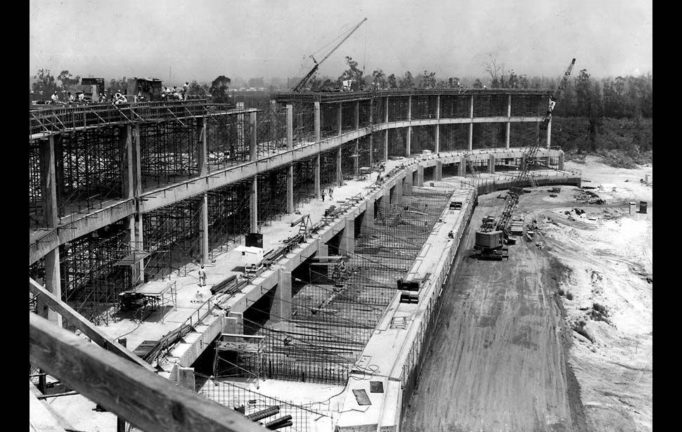 Anaheim Stadium under construction. 23 April 1965. Concrete pour.