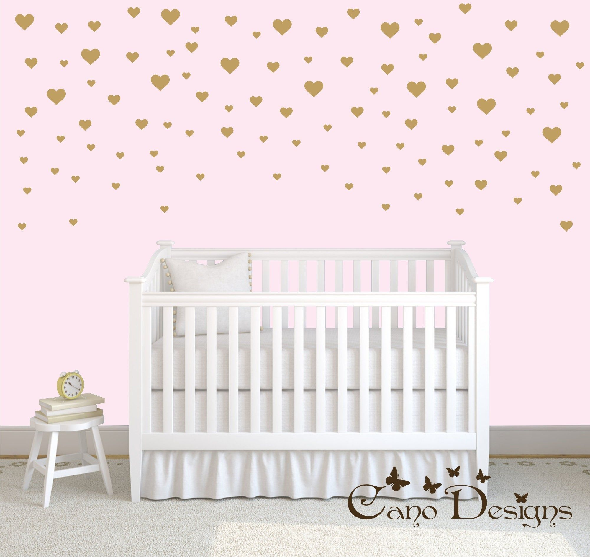 Hearts Wall Decals Set 3 Sizes Nursery Wall Decor Easy Peel And