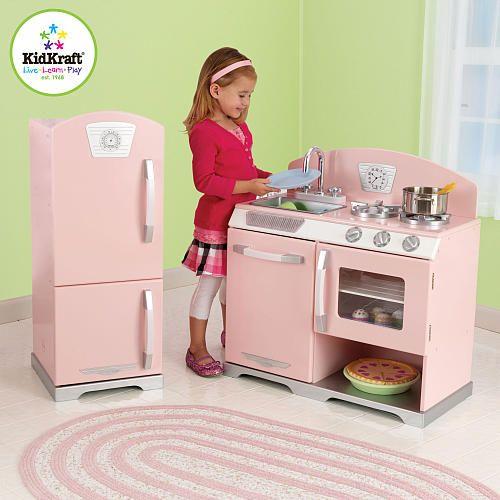 Kidkraft Pink Retro Kitchen And Refrigerator 53160