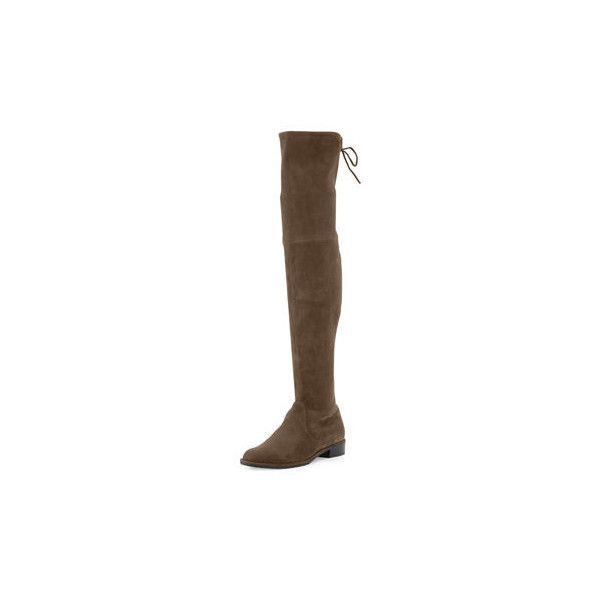 Stuart Weitzman Lowland Suede Over-The-Knee Boot (£615) ❤ liked on Polyvore featuring shoes, boots, cactus, stretch thigh high boots, stretch suede boots, stuart weitzman over the knee boots, over the knee suede flat boots and thigh high boots